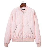 Women argyle bomber jacket solid color padded long sleeve fl...