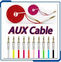 2016 Flat Noodle Aux Cable 3.5mm Câbles auxiliaires audio Jack Male to Male Car audio Stéréo pour téléphone Iphone Ipad