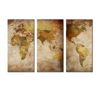 3 Картина Холст картины Стены Искусство Абстрактная карта мира Картина Печать на холсте с деревянным обрамлении для домашнего декора стены в качестве подарков