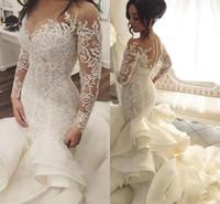 Русалка Кружева 2017 года арабские свадебные платья Sheer шеи длинными рукавами Свадебные платья Tiers атласная Свадебные платья выполненная на заказ
