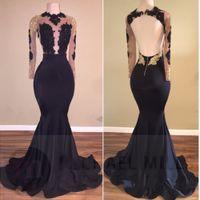New African Black and Gold Mermaid Prom Dresses Long 2017 Hi...