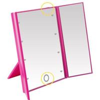 Miroir de maquillage LED miroir de maquillage avec lumières réglables interrupteur tactile pliable pliable portable compact cosmétique avec LED Light