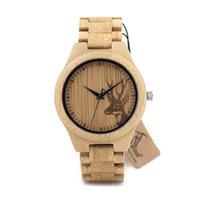 Fashion Natural Bamboo Montres en bois avec des amateurs de perles en bois Montres de luxe en bois pour les hommes Idées Femme Cadeaux