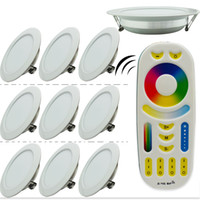 10Pcs 2.4G Milight inalámbrico Dimmable Led Panel 6W 12W RGBCCT atenuación Led Downlights + 1pcs Led de control remoto