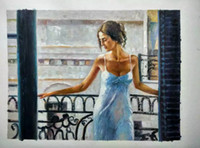 Impressionist figure lady hand- painted canvas oil painting f...