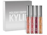 La colección líquida del lipgloss del kit 4pcs de la edición del día de fiesta de Kylie del kylie de la nueva fijó para el regalo de la Navidad CONTRA el KIT del LABORATORIO de KYLIE El envío libre
