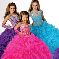 2016 великолепный фиолетовый бальное платье платье Pageant платья для девочек из бисера Холтер шеи кружева назад органза оборками длиной до пола, цветок девушки платья