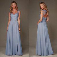 2017 Light Blue невесты Платья Специальный Платья Линия рукава Cap Аппликация из бисера шифон Длина пола платье фрейлины платье Gowns