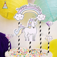 DIY Unicorn Cake Topper Set Happy Birthday Party Decoration ...