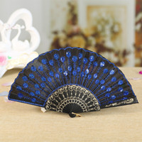 Embroidered Sequins Hand Lace Flower Folding Fan Dancing Wed...