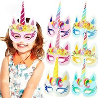 12pcs lot Rainbow Unicorn Paper Masks Kids Birthday Unicorn ...