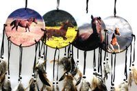 Handmade Horse Dream Catcher With Feathers Wall Hanging Deco...