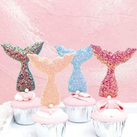 Sequins Mermaid Tail Shape Cake Topper Wedding Birthday Part...