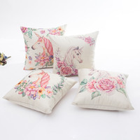Unicorn Pattern Pillow Sofa Waist Throw Cushion Cover Home D...