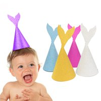 DIY Glitter Mermaid Party Hats Bling Cute Birthday Hat Boy G...