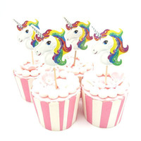 24pcs lot Unicorn Horse Cupcake Topper Pick Wedding Decorati...