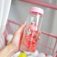 4 Colors Flamingo Bottles Transparent Glass Water Bottle Who...