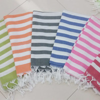 Soft Cotton Beach Towels Scarf Turkish Tassel Striped Bath T...