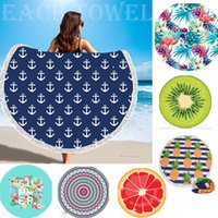 Sunbathe Round Beach Towels New Large Microfiber Printed Yog...