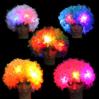 Colorful Clown Cosplay Wavy LED Light Up Flashing Hair Wig F...
