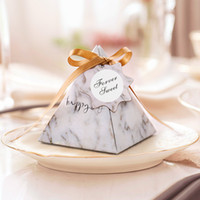 Triangular Pyramid Marble style Candy Box with Silk Ribbon C...