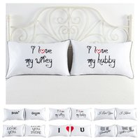 19 Style Set of 2 Couples Pillow Case Letters Printed Pillow...