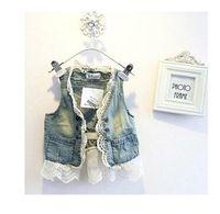 Wholesale Children Lace Cardigan vest Summer Sleeveless Coats Kids Blue Denim Waistcoat Outwear Girls Cute Lace Waistcoats