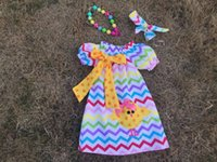 chevron dresses - 2016 new design Easter dresses cottom chicken dress chevron dress with matching necklace and headband set
