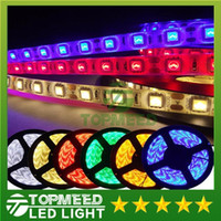 Wholesale 5M SMD5050 Warm Pure Cool White Red Green Blue RGB Waterproof Flexible Led Light M roll Leds V Led strip lighting