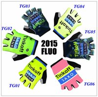 Wholesale 2015 Tinkoff saxo bank cycling gloves summer outdoor racing gloves anti skid styles Fluo half finger cycling gloves size M L XL