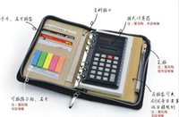 leather notebook with calculator - A6 loose leaf hard business Pu leather organiser notebook with calculator filofax Spiral Diary