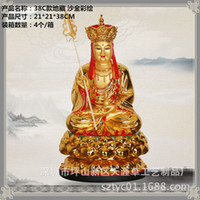 Wholesale Guangdong factory custom resin gilt ornaments painted Earth Store Bodhisattva Buddha cm high C section