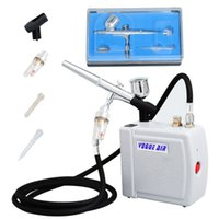 airbrush compressor air hose - 2014 Real New Airbrush Paint Aerografos Mini Airbrush Compressor Kit Dual Action Air Brush Spray Gun Make Up Holder Hose