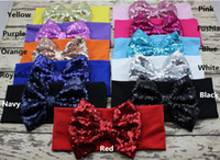 hair sparkle - New inch Big Sparkle Bow Headbands for Girl Hair Accessories Fashion Sequin Bow Head wrap Baby Top Knot Headband colors