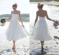 Reference Images tea length wedding dress - 2015 Newest Fashion Summer Beach Short A line Wedding Dresses backless strapless wedding party gowns tea length cheap bridesmaid dresses