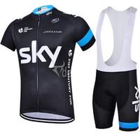 bicycle wear cycling shorts - 2015 Sky Cycling Jersey Short Sleeve Jersey Bib Shorts Set Pro Team Sky Cycling Clothing Maillot Bike Bicycle Wear