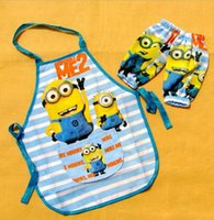 Wholesale 300sets cartoon Minions aprons with raglan sleeves sets Frozen SpiderMan Mickey Princess children waterproof pinafore
