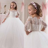 Lace angels covers - 2016 Angel Off Shoulder Long Sleeves Ball Gown Lace Flower Girls Dresses Covered button Full Length Lovely Glitz Pageant Gowns BA0633