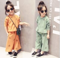 kids sweat suits - Sweater pants pieces girl kids loose pants sets Baby causal sweat suittracksuit Ultra wide leg outfits suit set Sports Set girls A11