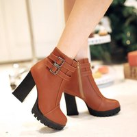 ladies high heel boots - Fashion Square High Heels Zip Motorcycle Boots For Women Sexy Round Toe Lady s Metal Buckle Strap Ankle Boots Drop Shipping