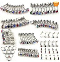 Cheap 100pcs 10style Wholesale 18G & 14G Stainless Steel Body Jewelry Bulk Belly Tongue Lip Rhinestone Piercing Free Ship
