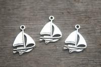 antique boat - 25pcs Sail boat Charms Antique Tibetan Silver Sailboat charm Pendants x17mm