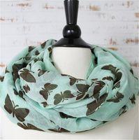 Mariposas Imprimir Infinity Bufandas Moda Mujer Loop Bufanda Primavera / Otoño Voile Bufanda Niñas Mejor regalo AF640