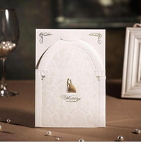Wholesale Unique Pearl White Free Personalized Customized Printing Wedding Invitations Cards Custom Sweet Church MYF119