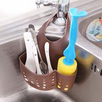 adjustable wall shelves - Kitchen Plastic Organizer Adjustable Buckle Sink Holder Wall Shelf Gadget Drain Hanging Storage Bag Sale Rushed