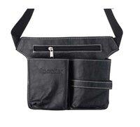 Wholesale retail Professional Leather Rivet Clips Bag Salon Scissors Hairdressing Case with Waist Shoulder Belt Black