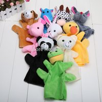 big hippo - Big Size Animal Glove Puppet Hand Dolls Plush Toy Bear Panda Elephant Duck Rabbit Hippo Mouse Cow Frog Dog