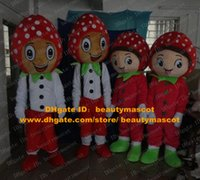 Cheap Fancy Red Strawberry Mascot Costume Mascotte Berries La Fresa Fragola Adult With Green Leaves Scarf Big Eyes No.3766 Free Ship