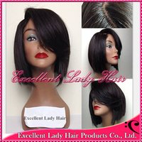 Wholesale Excelllent lady hair bob cut wigs human hair short lace wig with bangs glueless lace front wig full lace wig bob for african americans