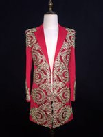 baroque clothing style - New Men s baroque style Embroidery suit costumes NightClub male singer DJ host stage clothing outfit